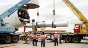 El último repuesto para el Ciclo Combinado tras su llegada al aeropuerto de Viru Viru, en Santa Cruz, en noviembre pasado.