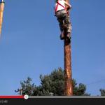Subiendo un poste de madera de 40 pies en 8 segundos