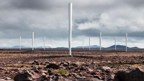 Pie de foto: Recreación en 3D de los aerogeneradores sin palas; futuros modelos podrán alcanzar más de 100 metros de altura. Crédito: Vortex.