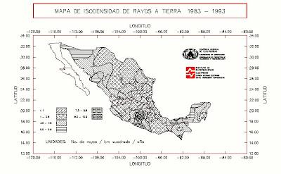 mapa isodensidad de rayos en mexico
