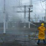 Trabajos de lavado de aislamiento de una subestacion 400/115 kV