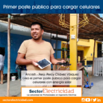 Perú: Ancash - chimbotano crea el primer poste público para cargar celulares con energía solar